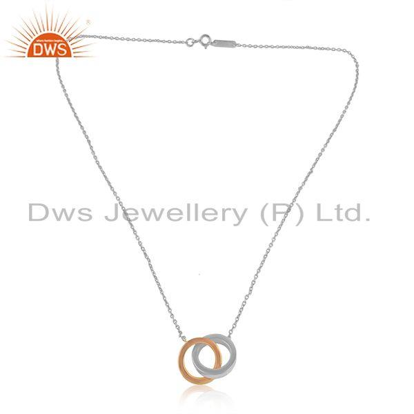 Tow Tone Plated Connected Circle Design Silver Chain Pendant