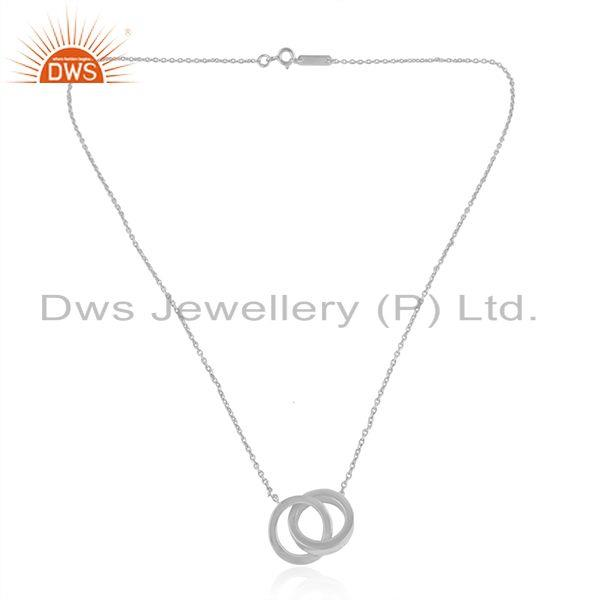 White Rhodium Plated Connected Circle Plain Silver Chain Pendant