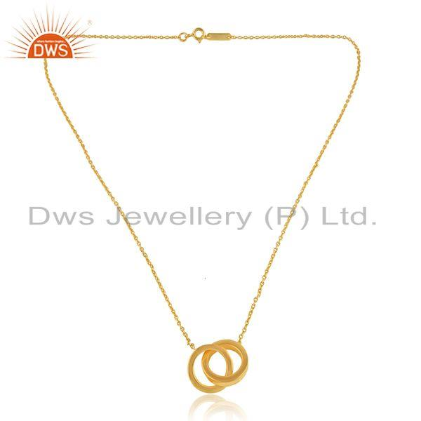 Connected Circle Design 18k Gold Plated Plain Silver Chain Pendant