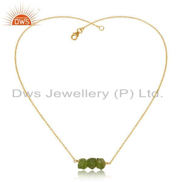 Natural Peridot Gemstone Handmade Gold Plated 925 Silver Pendant