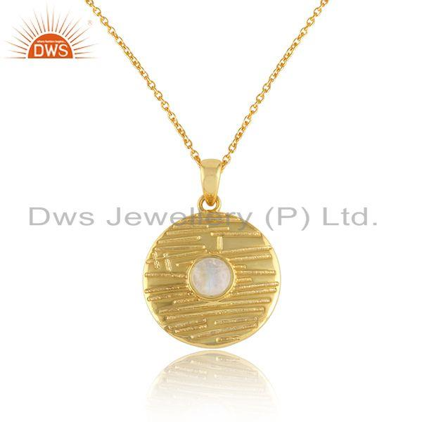 Texture Gold Plated 925 Silver Rainbow Moonstone Chain Pendants