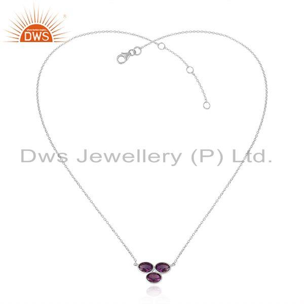 Natural Amethyst Gemstone Sterling Fine Silver Designer Necklace