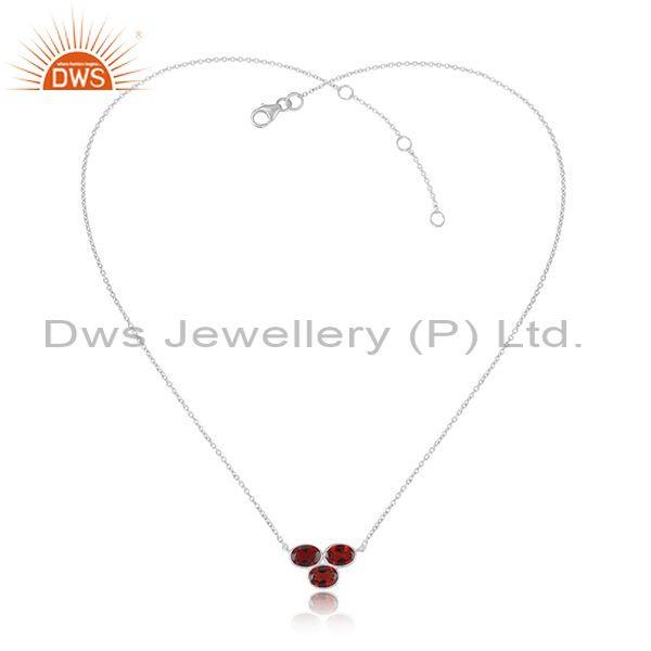 Red Garnet Set Pendant And Fine 925 Silver Statement Chain