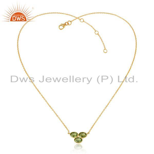 18k Yellow Gold Plated 925 Silver Peridot Gemstone Pendant Necklace
