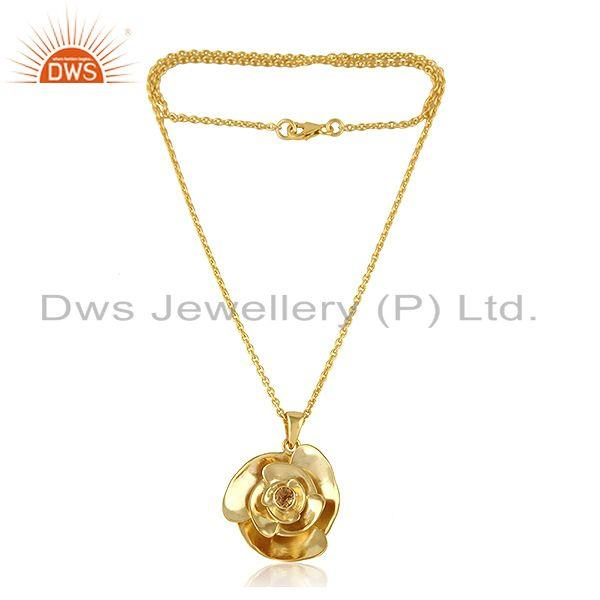 Gold Plated Silver Rose Design Natural Citrine Gemstone Necklace