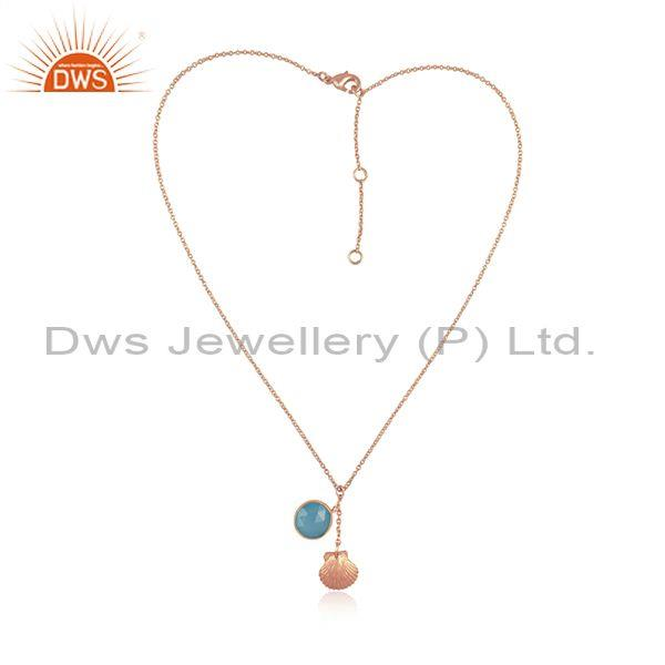 Aqua Chalcedony Set Rose Gold On Silver Pendant And Chain
