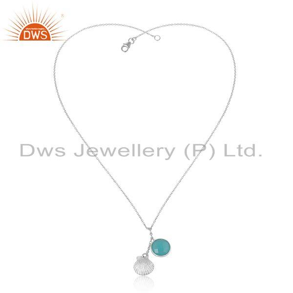 Solid silver 925 handmade seashell necklace with aqua chalcedony