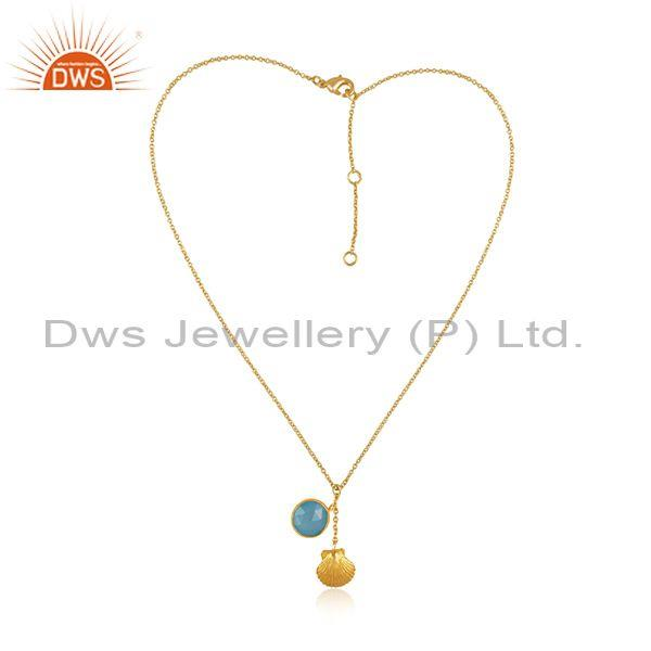 Aqua chalcedony set gold on 925 silver pendant and chain