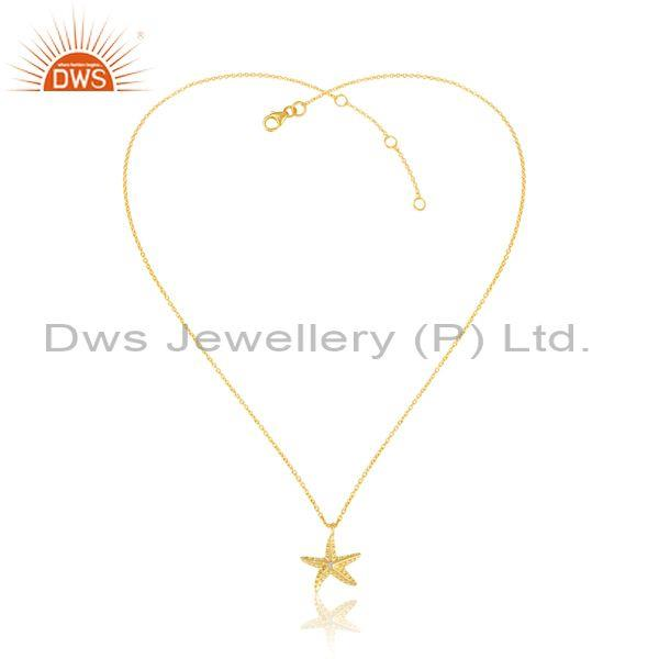 Cz set star pendant with gold on 925 sterling silver chain