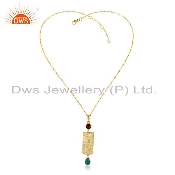 Handmade Gold Plated 925 Silver Green Onyx Garnet Gemstone Necklace