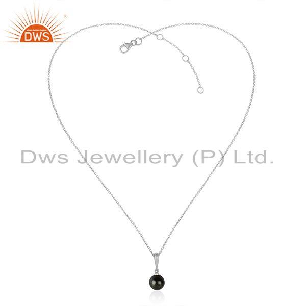 Gray Pearl Gemstone White Rhodium Plated 925 Silver Chain Pendants