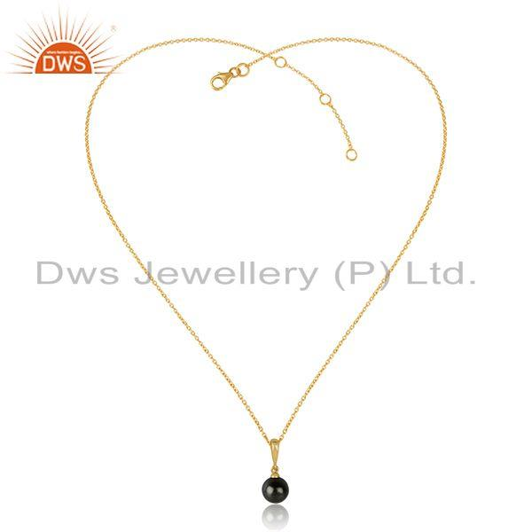 Gray pearl gemstone drop design gold plated 925 silver chain pendant