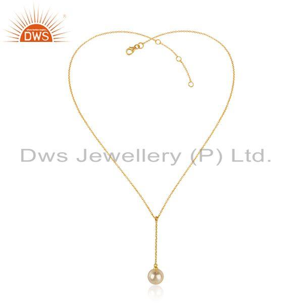 Natural Pearl Gemstone Yellow Gold Plated 925 Silver Womens Necklace