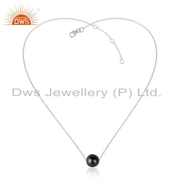 White Rhodium Plated Gray Pearl Gemstone Designer Chain Necklaces