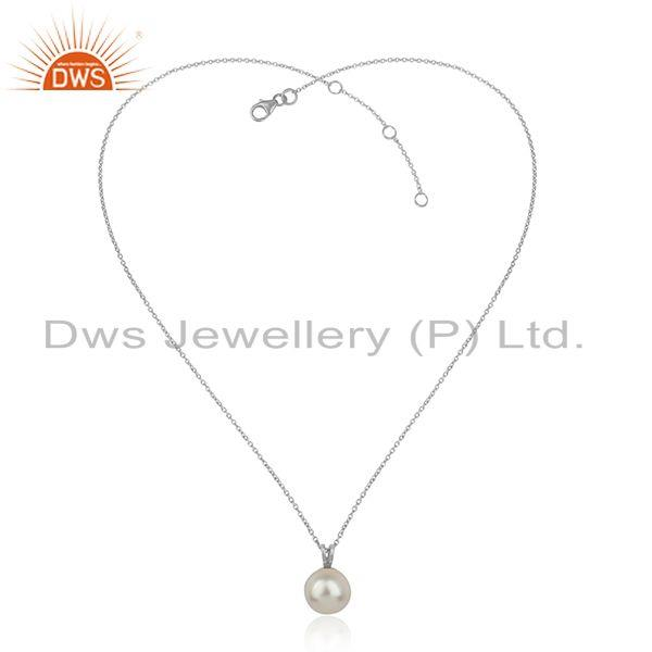 White rhodium plated silver designer natural pearl chain pendant