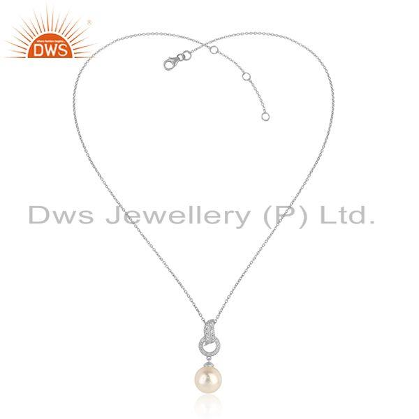 Zircon Pearl Gemstone White Rhodium Plated Silver Chain Pendant