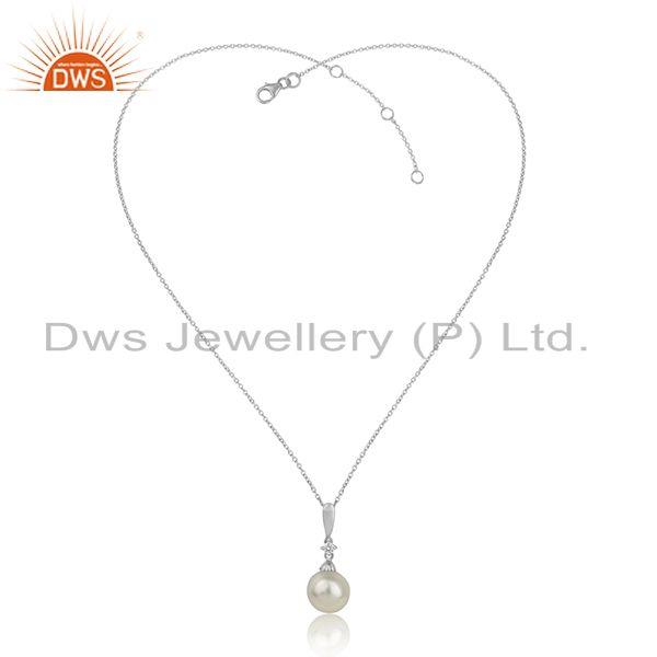 Natural Pearl Gemstone White Rhodium Plated Silver Chain Pendant