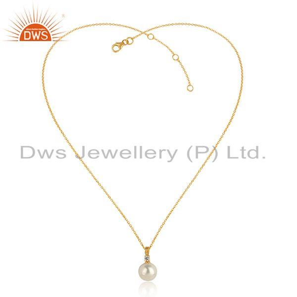 Zircon pearl gemstone 18k gold plated silver girls chain pendant