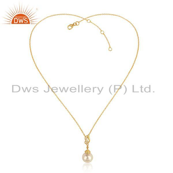 Designer Gold Plated Silver Girls CZ Pearl Gemstone Chain Pendant