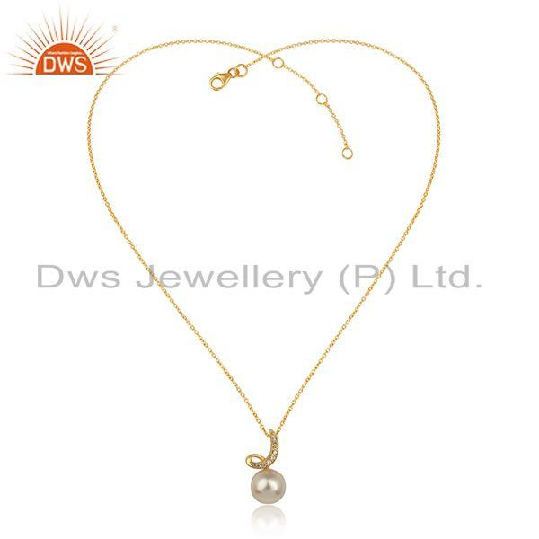 Cz natural pearl gemstone gold plated 925 silver chain pendant