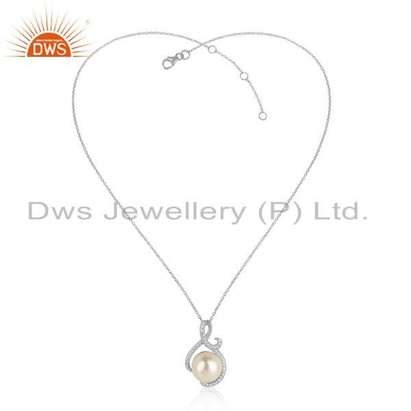 Zircon Pearl Gemstone Womens White Rhodium Plated Silver Pendant