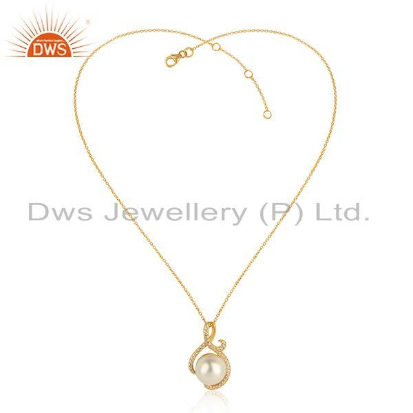 Designer Gold Plated Silver Natural Pearl Gemstone Chain Pendant