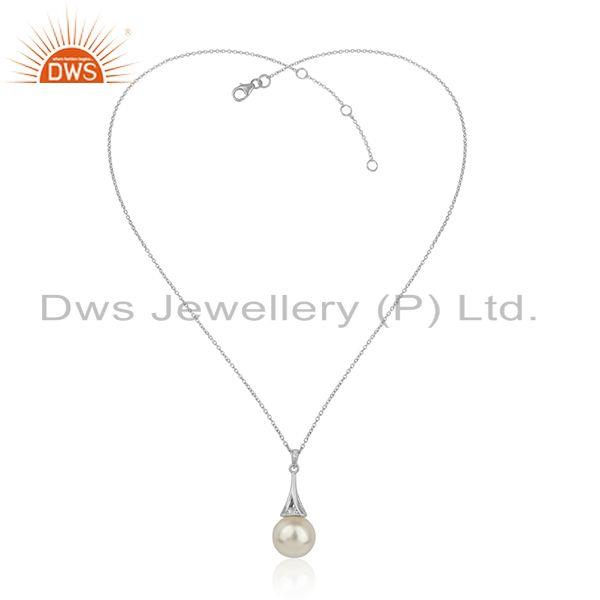 Girl pearl gemstone white rhodium plated 925 silver chain pendant