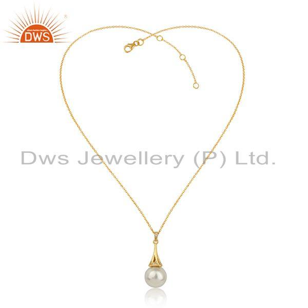 Drop gold plated 925 sillver zircon natural pearl chain pendant