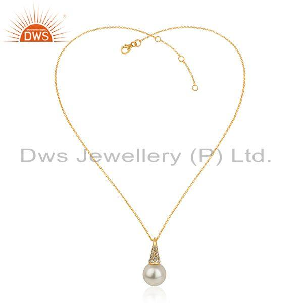 Zircon pearl gemstone 18k gold plated 925 silver chain pendant