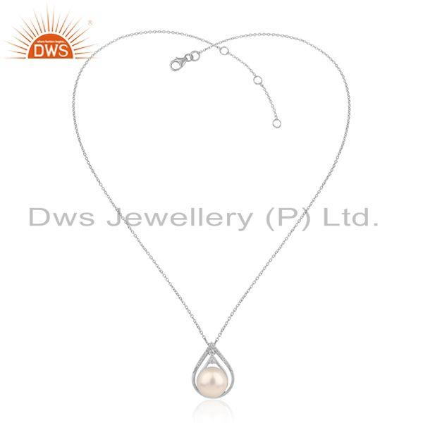 White Rhodium Plated Silver CZ Natural Pearl Chain Pendants