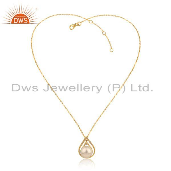 CZ Pearl Gemstone Handmade 18k Gold Plated Silver Chain Pendant