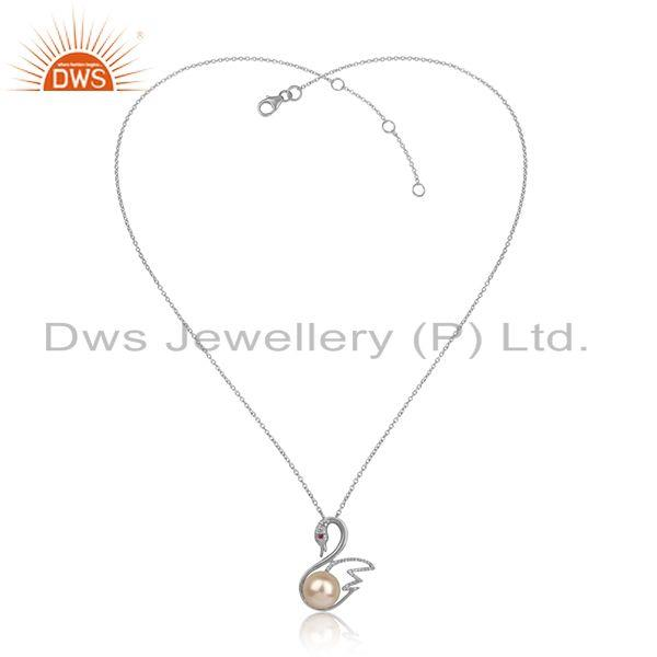 Swan design white rhodium plated silver cz pearl chain pendants