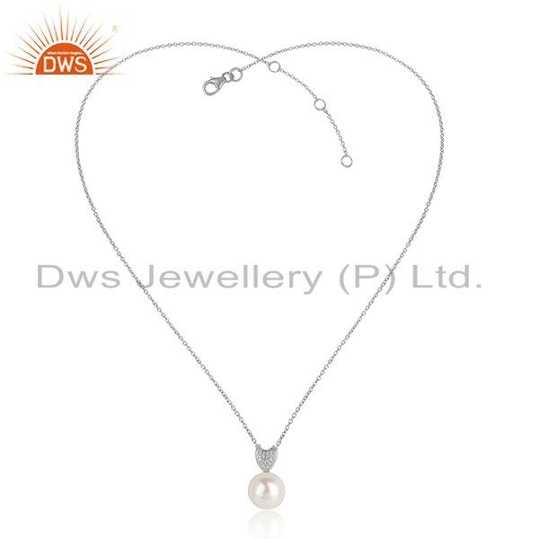 CZ Pearl Gemstone White Rhdoium Plated Silver Chain Pendants