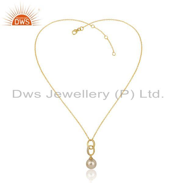 Womens Pearl Gemstone Designer Gold Plated Silver Chain Pendant