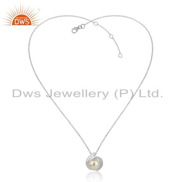 Cz pearl women white rhodium plated silver chain pendant jewelry