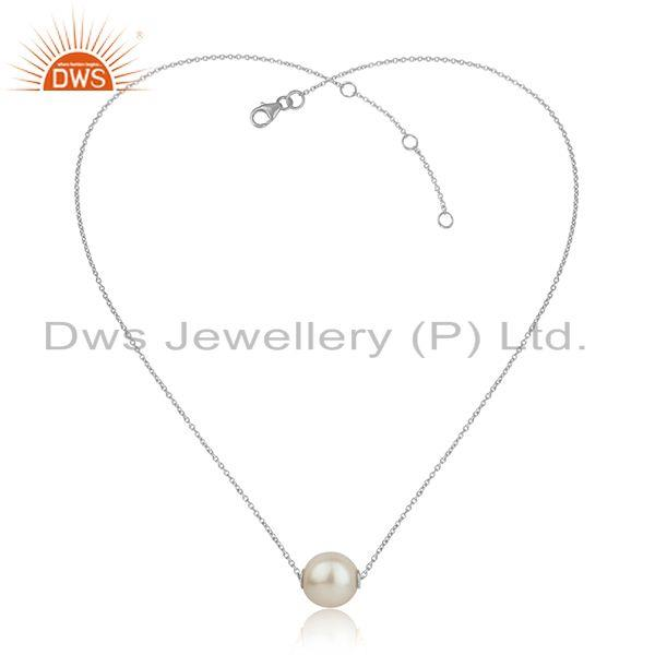 White rhodium plated 925 silver natural pearl gemstone pendants