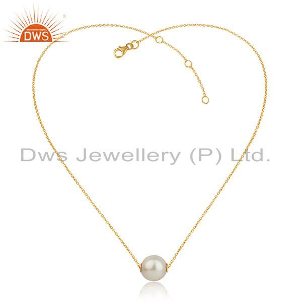 Handmade pearl gemstone designer gold plated silver chain pendant