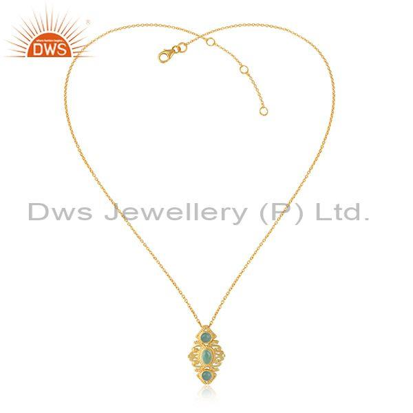 Bohemian Necklace in Yellow Gold on Silver with Aqua Chlacedony