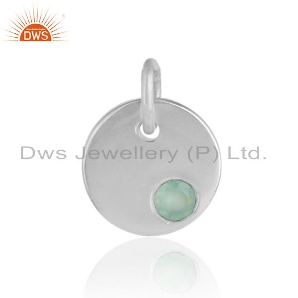 Handmade Dainty Charm Pendant in Solid Silver With Aqua Chalcedony