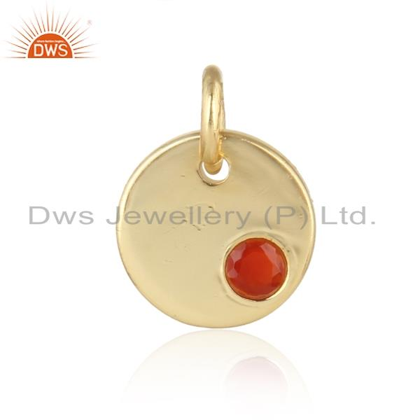 Dainty Charm Pendant in Yellow Gold on Silver With Red onyx