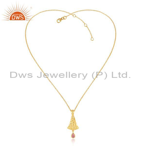 Bell shaped pink tourmaline gold on silver pendant and chain