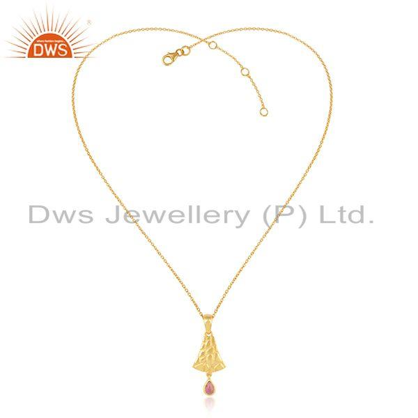 Pink Toulrmaline Bold Textured Necklace in Yellow Gold on Silver