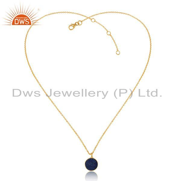 Elegant blue druzy pendant necklace in yellow gold over silver 925