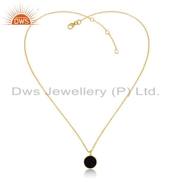 Elegant black druzy pendant necklace in yellow gold over silver 925