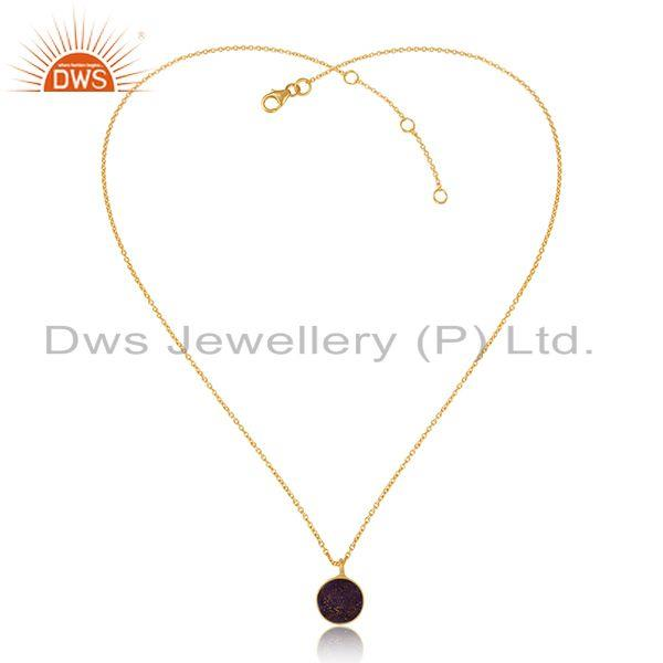 Elegant purple druzy pendant necklace in yellow gold over silver 925