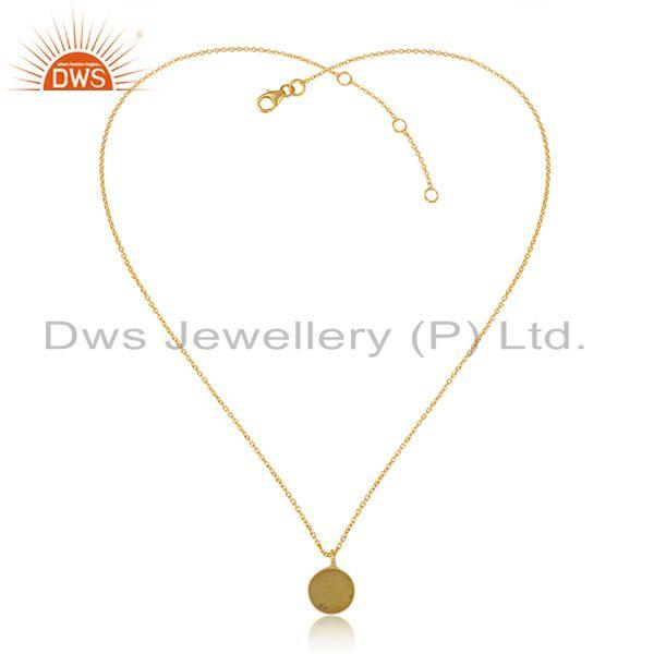 Elegant yellow druzy pendant necklace in yellow gold over silver 925