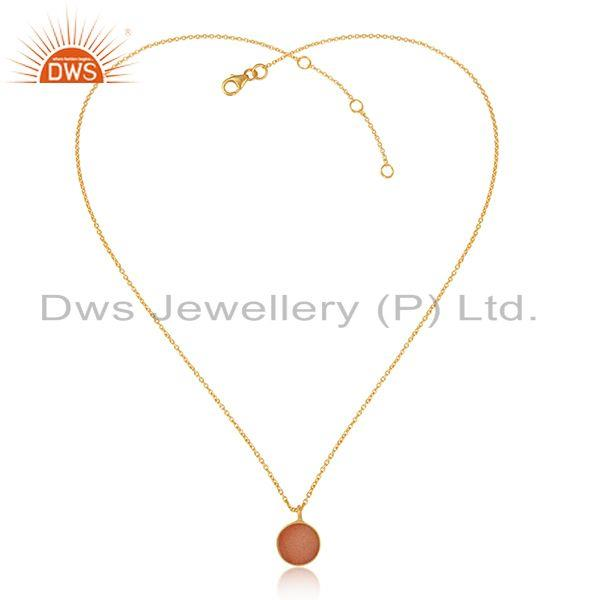 Elegant Orange Druzy Pendant Necklace in Yelow Gold on Silver 925