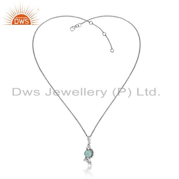 Designer Handmade Aqua Chalcedony Necklace in Oxidized Silver 925