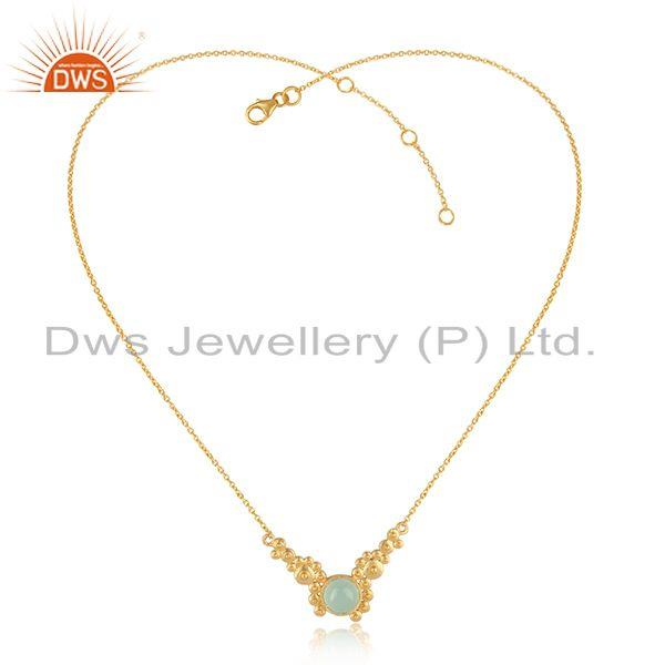 Handmade Zig Zag Granule Aqua Chalcedony Necklace in Gold on Silver