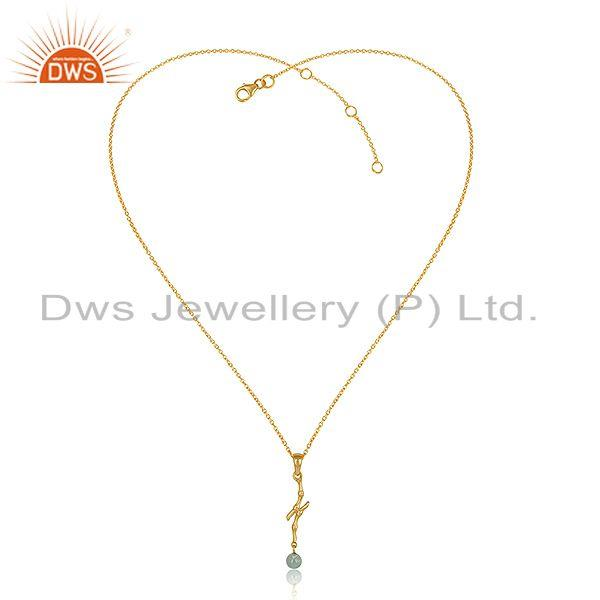 Designer Bamboo Textured Gold on Silver Blue Topaz Necklace